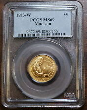 1993-W James Madison $5 Gold Commemorative, PCGS MS-69