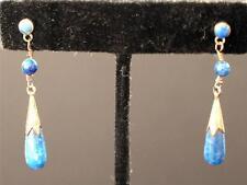 Vintage Silvertone Dangle LAPIS LAZURI Pierced Earrings