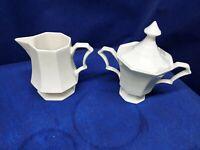 NIKKO Classic Collection White Creamer & Sugar Bowl Octagonal Japan Retired 2014