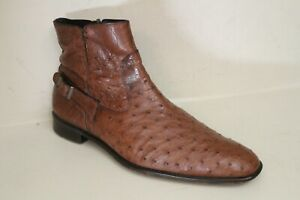 Men's Full Quill Ostrich Chelsea Boots Sz 9.5 M Brown Bravo