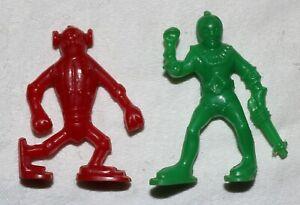 (2) Original 1953 Post Raisin Bran Cereal Premium Captain Video Spaceman Figures