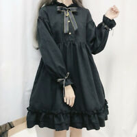 Sailor Moon Gothic Girls Lolita Dress Ruffles Cosplay Kawaii Puff Sleeve Sweet