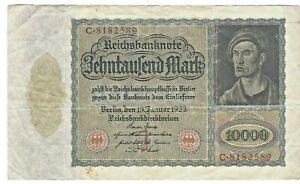 Vintage 1922 Germany/German 10000 Mark Reichsbanknote Paper Money