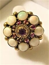 VTG Thai Dome Princess Ring 14kt  Solid Yellow Gold Size 6.5 Opal Ruby Tiered