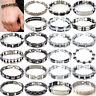 Men's Gift Silver Cross Stainless Steel Black Rubber Bracelet Bangle Wristband