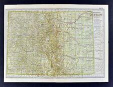 1902 Century Map - Colorado - Denver Bolder Springs Rocky Mountains South Park