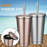 Coffee Ice Mug With Drinking Straw Stainless Steel Portable Travel Tumbler Cup