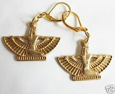 EGYPTIAN GODDESS RAW BRASS DETAILED HANDMADE EARRINGS -PIERCED EARS