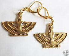 Egyptian Goddess crudo OTTONE dettagliate Orecchini fatti a mano-Orecchie Forate