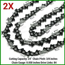 "2XChainsaw SEMI CHISEL Chain New 24"" BAR 3/8 058 84DL Replacement Saws parts"