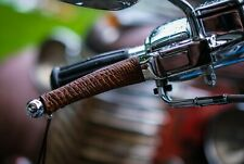 Premium Python Antique Brown Leather Motorcycle Universal Lever Covers (Pair)