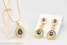 Vintage Teardrop Necklace Earring SET Sapphire Blue Crystal Free Gift Pouch