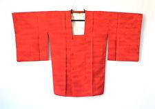 Vintage Japanese Michiyuki Kimono Coat Red Silk Seigaiha Wave Traditional G105