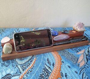 Crystal Display Ledge Wooden Stand Holder phone pens storage shelf