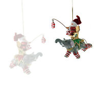 Santa Riding Elephant Ornament Christmas Katherine's Collection 28-628102 Green