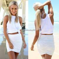 Womens Summer Two Piece Crop Top and Mini Skirt Set Ladies Sexy Bodycon Dress