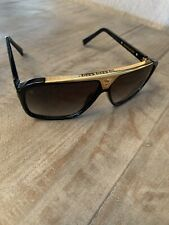 Louis Vuitton LV Evidence Sunglasses Z0350W Black Gold millionaire PreOwned