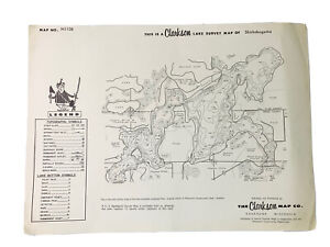 Vintage Shishebogama Lake Vilas Oneida County WI Survey Map Clarkson Map Co.