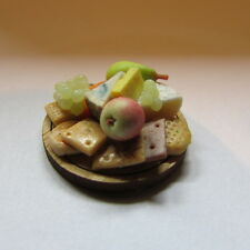 OOAK Cheese and biscuit selection on wooden board ~ Doll House Miniature ~ 1/12