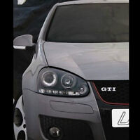 VW Golf Mk5 04-09 Black Halo Angel Eye Projector + LED Front Headlights Lights