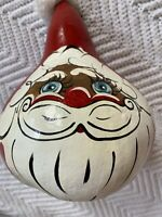 Vintage Hand Painted Santa Claus Gourd Holiday Christmas Nature Craft Gift 9""