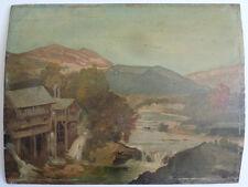 Paysage au moulin Peinture de Germain DETANGER (1846-1902) Lyon 19e siècle