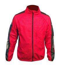 Cycling Jacket Wind Stopper Winter Thermal Fleece Hi-viz Windproof Red Medium