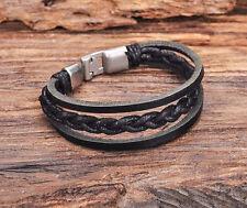 JG502 Black Rock Surfer Plaite Leather Wristband Wrap Bracelet Metal Clasp