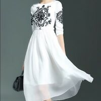 STYLEWE CYANINE SEA WHITE EMBROIDERED FLORAL CREW NECK HALF SLEEVE MIDI DRESS