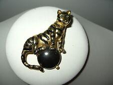 Vintage Large Goldtone & Black Enamel Tiger Big Cat & Hematite Ball Brooch Pin