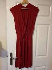 Zara woman red silk wrap dress S size 8 10 12 14