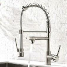 Kitchen Sink Faucet Pull Down Sprayer Swivel Spout Brushed Nickel Mixer Tap