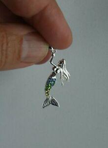 Meerjungfrau Anhänger  Sterling Silber mit buntem Kristallglas