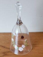 """6"""" Avon 24% Full Lead Crystal Glass Bell Pink Flower Design"""