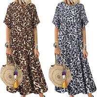 Women Summer Casual Leopard Print Round Neck Beach Party Maxi Long Loose Dress