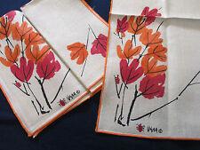 "Vera Neumann Tablecloth Napkins Autumn Leaves Tan Red Orange Set of 5  51"" x 69"""