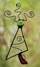CRYSTAL CLEAR, GREEN & RED CHRISTMAS TREE Stained Glass HANDMADE SUNCATCHER