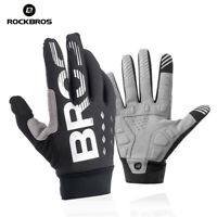 ROCKBROS Men Winter Cycling Full Finger Gloves Windproof Fleece Gloves Black