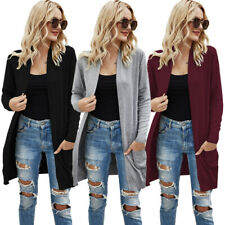 Women Sweaters Long Sleeve Solid Knitwear Open Front Loose Cardigan with Pockets