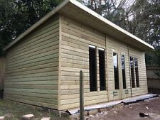 20X10ft Wooden Shed/Summerhouse Garden Home Studio Pent With 2ft Overhang