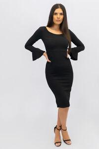 New UK Womens Ladies Flared Sleeve Crepe Bodycon Midi Dress Sizes 8-14
