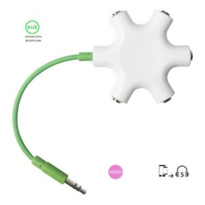 Rockstar Aux Cable 5-Way Splitter for Headphone White/Green