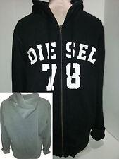 DIESEL Mens Hoodie Sweatshirt Jacket Coat Full Zip Size M Medium Black Cotton
