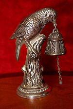 Vintage White Metal Bell with Bird Figurine, Spain