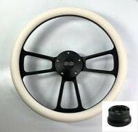 """14"""" Black Steering Wheel (White Half Wrap, Chevy SS Horn Button, Adapter A01)"""