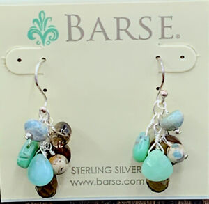 Barse Raw Beauty Cluster Earrings-Mixed Stones- Sterling Silver- NWT
