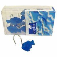 PACK OF 12 CROYDEX BLUE FISH CHROME SHOWER RAIL CURTAIN RINGS HOOKS