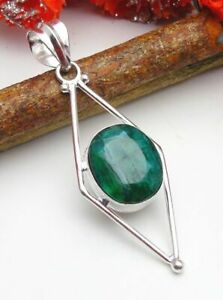 Emerald Pendant Gemstone Jewellery 925 Silver OVERLAY Hand Made 56mm