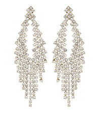 CLIP ON EARRINGS - gold chandelier earring with clear crystals - Caca G