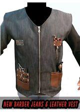 Professional Leather Barber Vest for Barber Hairstylist vest,Barber jeans apron